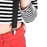 """Black Women Suspenders. 1"""" Y Back with Silver Metal Clips. Adjustable"""