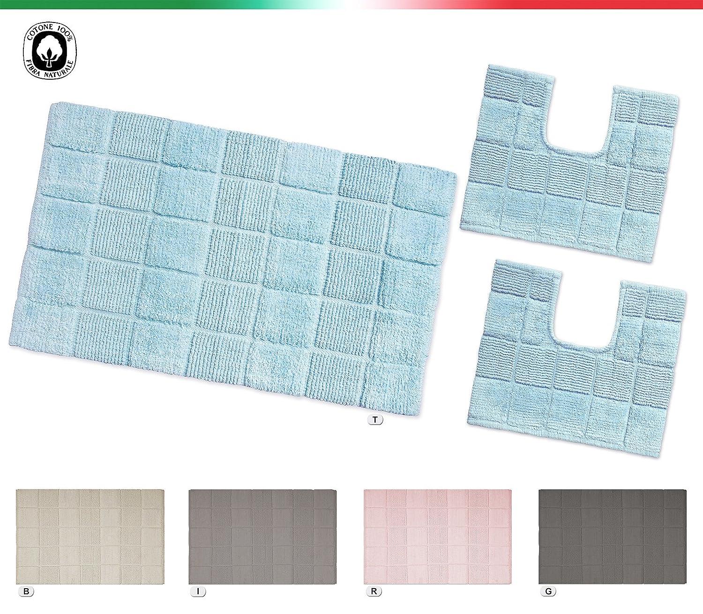 Tappeto bagno multiuso 100% COTONE morbido assorbente lavabile in lavatrice mod.AFEF (Parure set 3 pezzi, BEIGE) EMMEVI