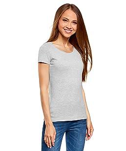 oodji Ultra Femme T-Shirt Basique Ajusté, Gris, FR 44 / XL