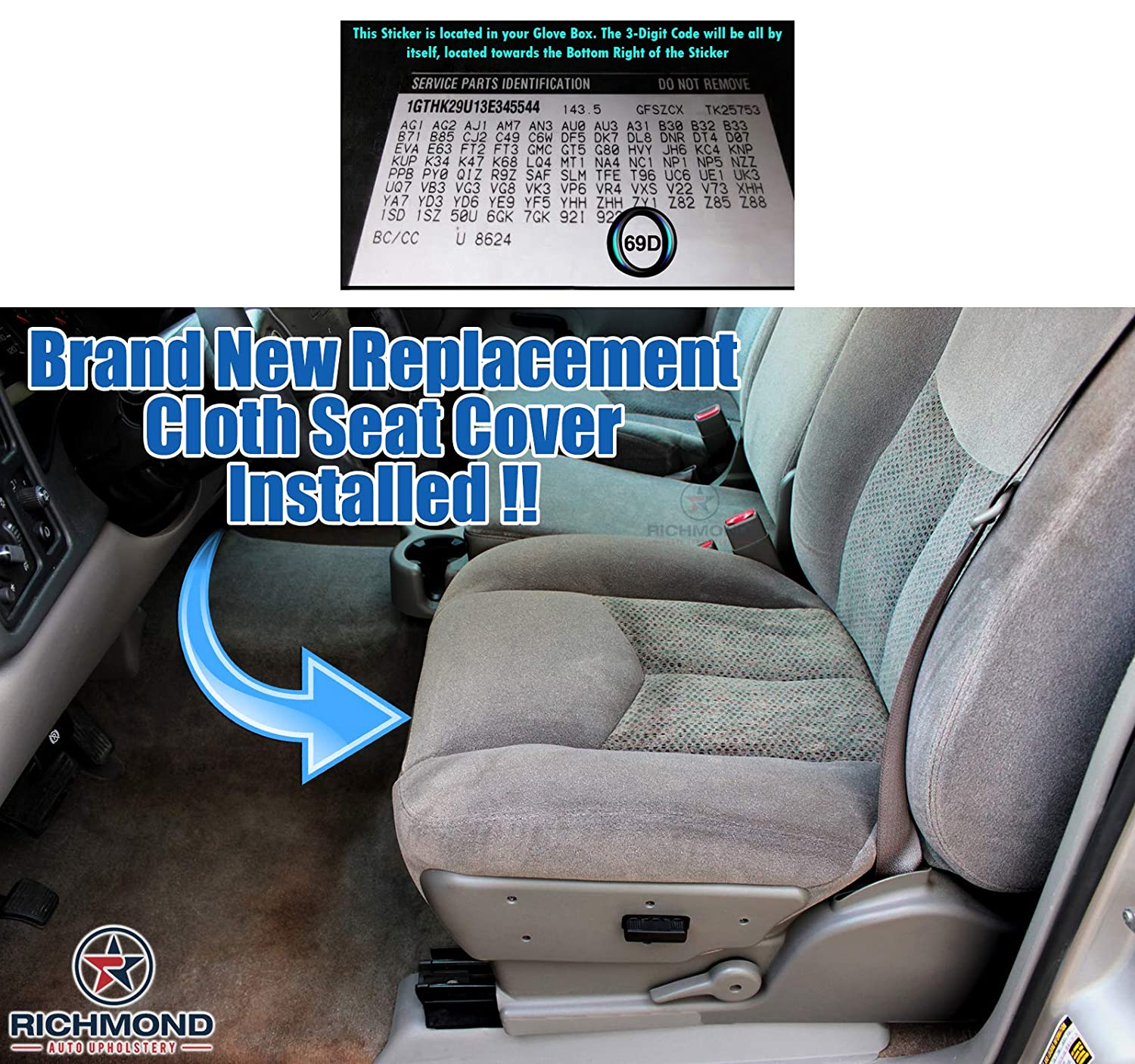 Driver Side Bottom Replacement Cloth Seat Cover 69D Gray Richmond Auto Upholstery Compatible with 2003 2004 2005 2006 Chevy Silverado 2500 2500HD LS LT HD Z71