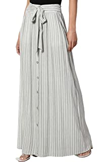 cd57129a8b TheMogan Women's Embroidered Tiered Flare A-Line Smocked Waist Long Maxi  Denim Skirt