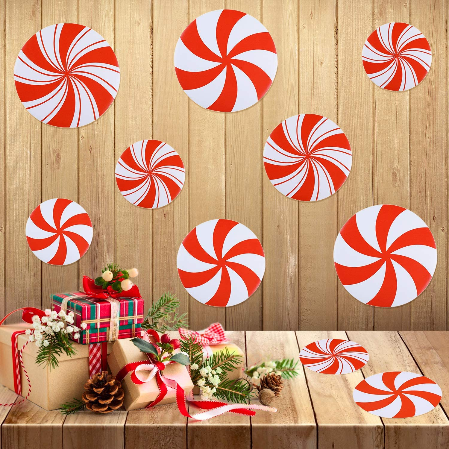 18 Pieces Peppermint Floor Decals Stickers Self-Adhesive Round Wall Candy Party Decoration for Christmas