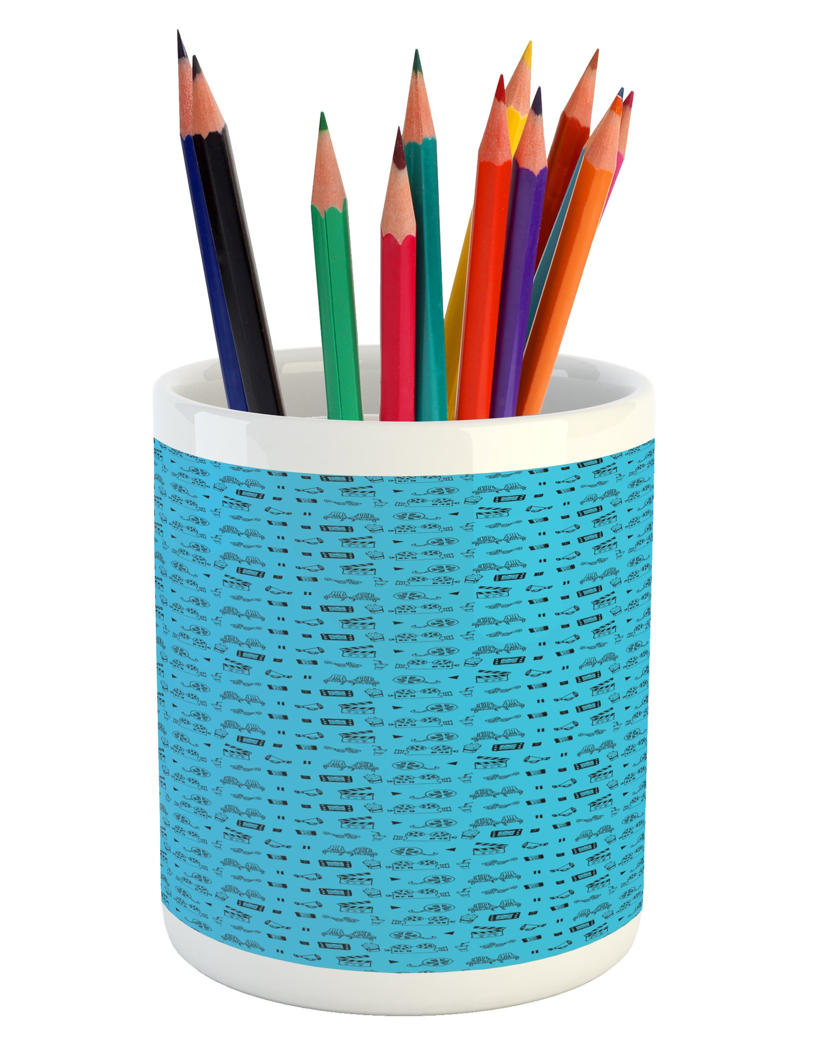 Ambesonne Blue and Black Pencil Pen Holder, Doodle Style Cinema Movie Theater Icons Camera Seat Popcorn Clapper, Printed Ceramic Pencil Pen Holder for Desk Office Accessory, Pale Blue and Black