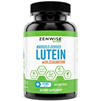 Lutein 20mg Vitamin Supplement with Zeaxanthin - Provides All-Natural Benefits for Eyes - For Healthy Retinal Tissue and Vision - Reduce Eye Strain & Fatigue - Brain & Memory Booster - 120 Softgels