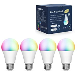 Boxlood Smart LED Light Bulbs Compatible with Alexa & Google Home & IFTTT, 9W(80W Equivalent), 2700K to 6500K Tunable, 16 Million Multi-Color, E27, Voice Control A19 Bulb Lamp No Hub Required (4PACK)