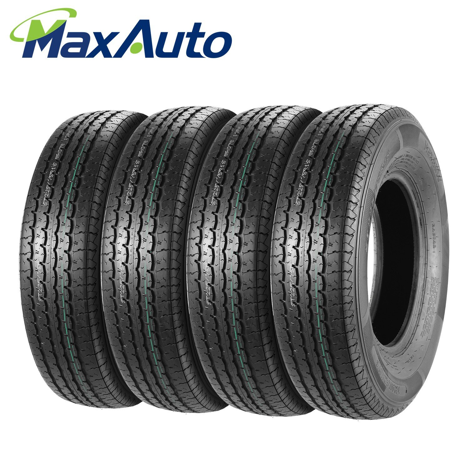 Set of 4 ST225/75R15 MaxAuto Radial Trailer Tires, ST225/75R-15 22575R15 10Ply