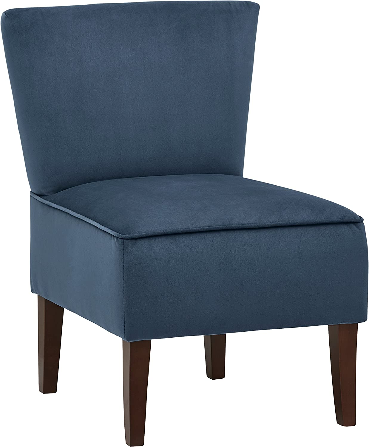 "Amazon Brand – Rivet Ashworth Armless Velvet Accent Chair, 21.6""W, Navy Navy"