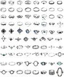 Finrezio 80PCS Bohemia Knuckle Rings Set for Women Vintage Stackable Midi Finger Ring Fashion Retro Vintage Jewelry