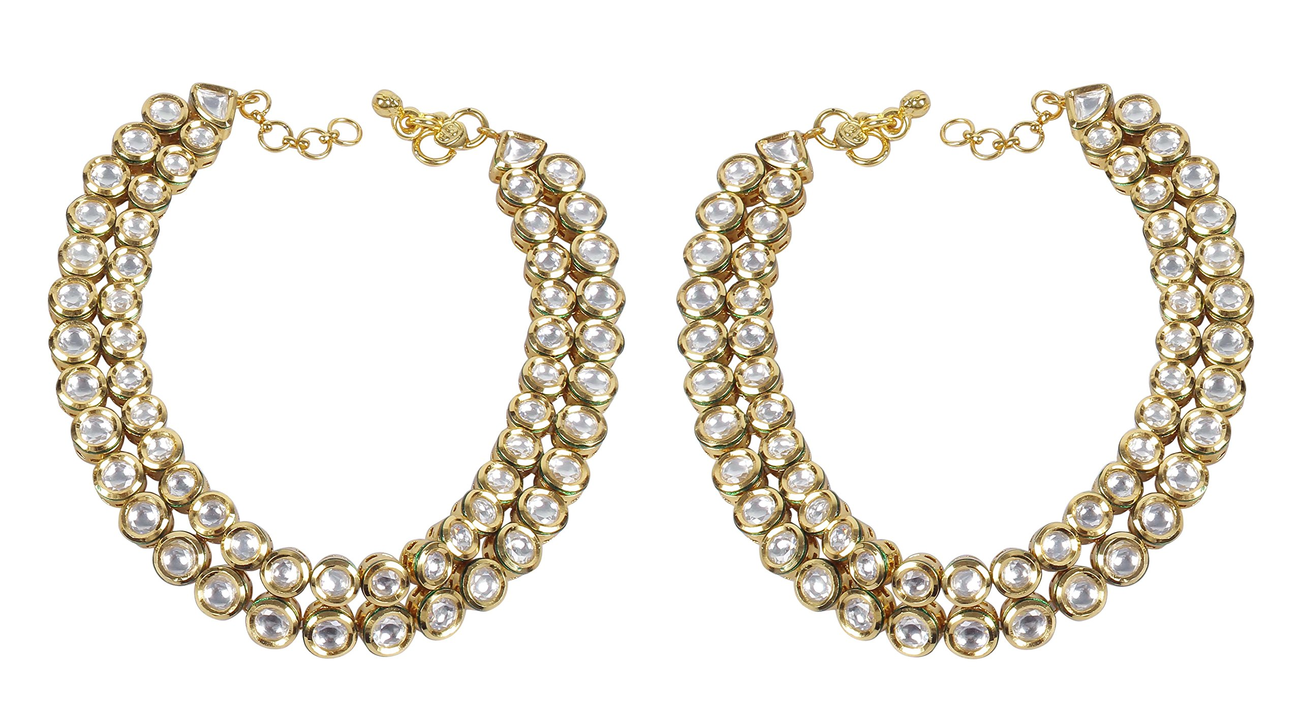 Muchmore Asian Ethnic Traditional Fashion Gold Tone Kundan Stone Anklet Partywear Jewelry by MUCHMORE (Image #2)