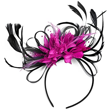 42bfbc3329644 Black and Fuchsia Hot Pink Fascinator Headband Wedding and Royal Ascot  Races Ladies  Amazon.co.uk  Clothing