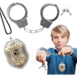 Police Badge Handcuffs for Kid, Play Toy Handcuffs for Kids Pretend Handcuffs Real for Costume Accessories Halloween…