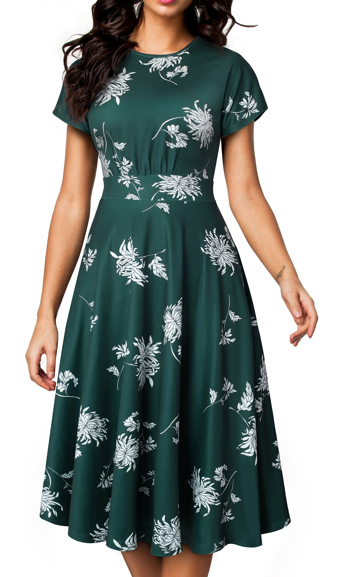 HOMEYEE Women's Short Sleeve Floral Casual Aline Midi Dress A102(6,Green)
