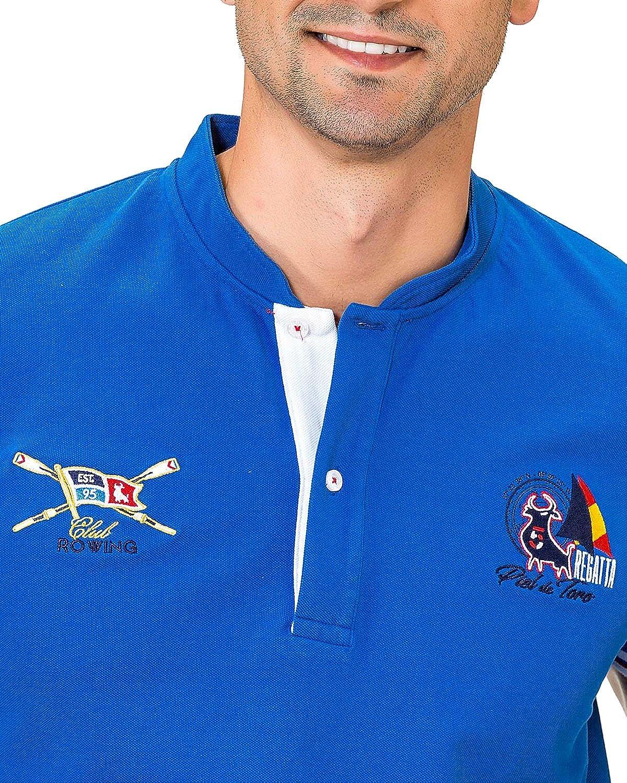 Piel de Toro Bordado Cuello Mao Motivos Nauticos Polo, Azul (Azul ...