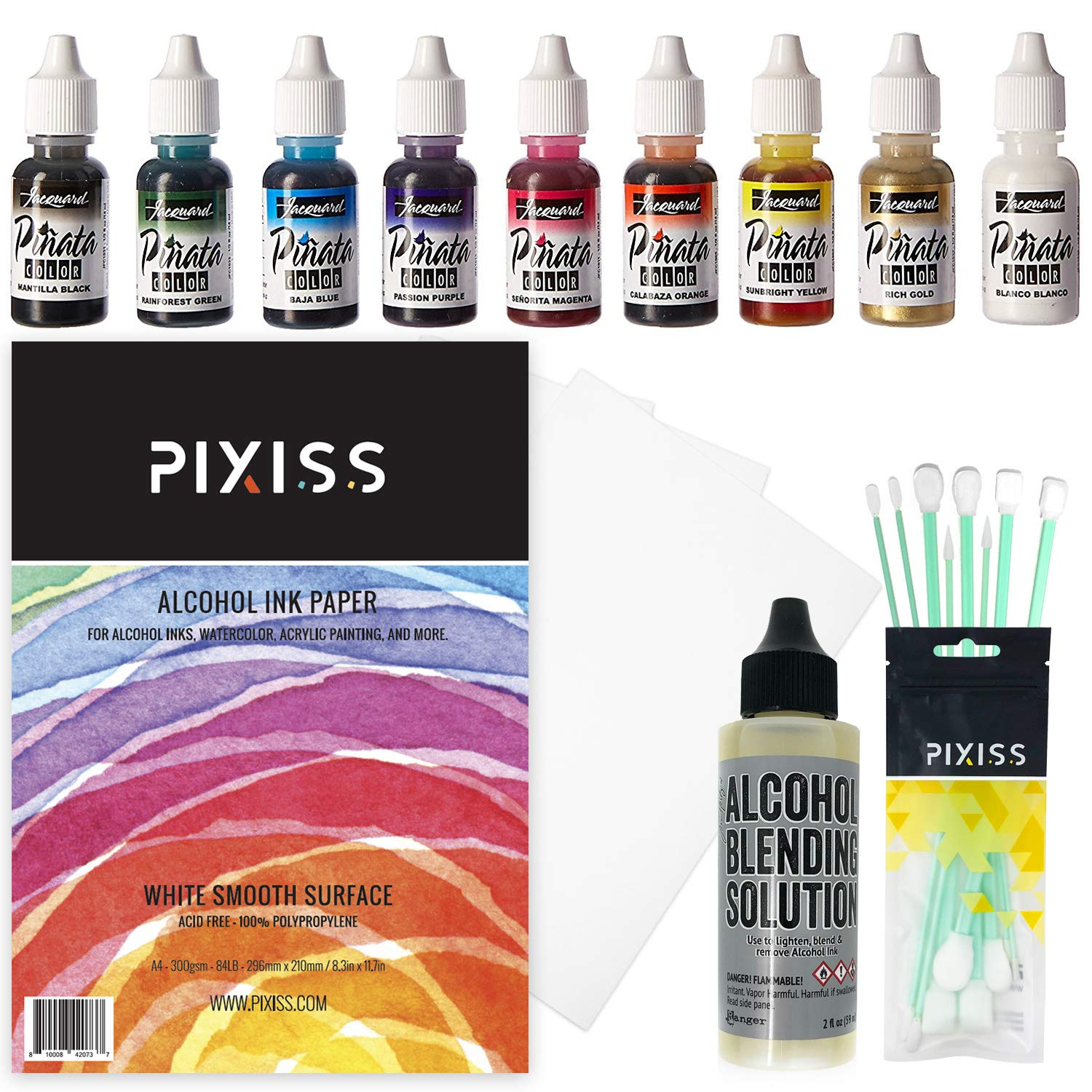 Jacquard Pinata Color Exciter Pack Alcohol Ink Bundle with Alcohol Blending Solution, Pixiss Blending Tools and Pixiss 9x12 Inch Alcohol Ink Paper by GrandProducts