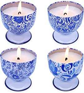 iwax Scented Candles for Women, 4oz Natural Soy Wax Candles with 4 Fragrance for Stress Relief & Home Decor-4 Pack