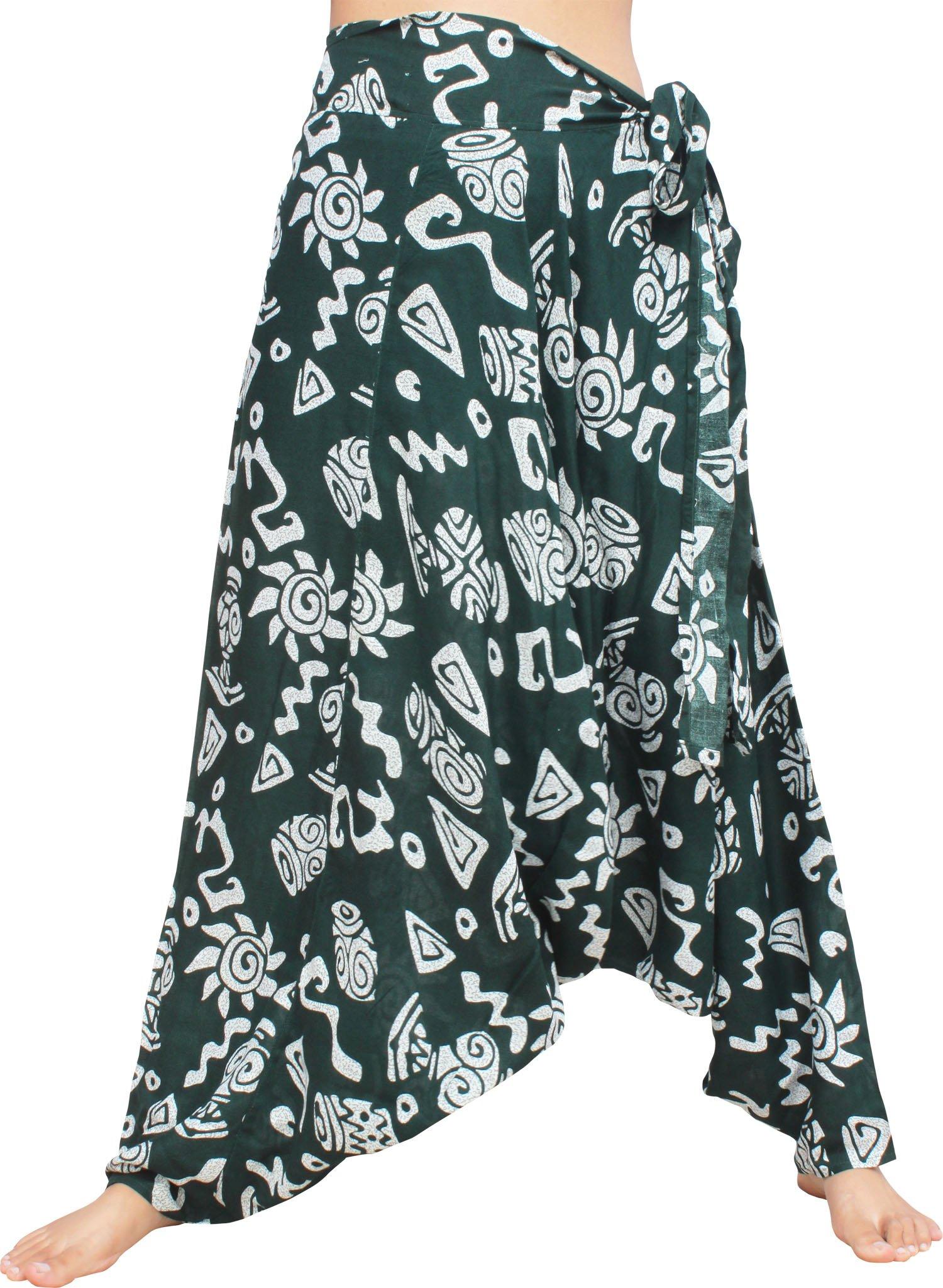 Raan Pah Muang Geometric Art Baggy Side Tie Mao Hmong Hill Tribe Harem Pants, Medium, Dark Green by Raan Pah Muang