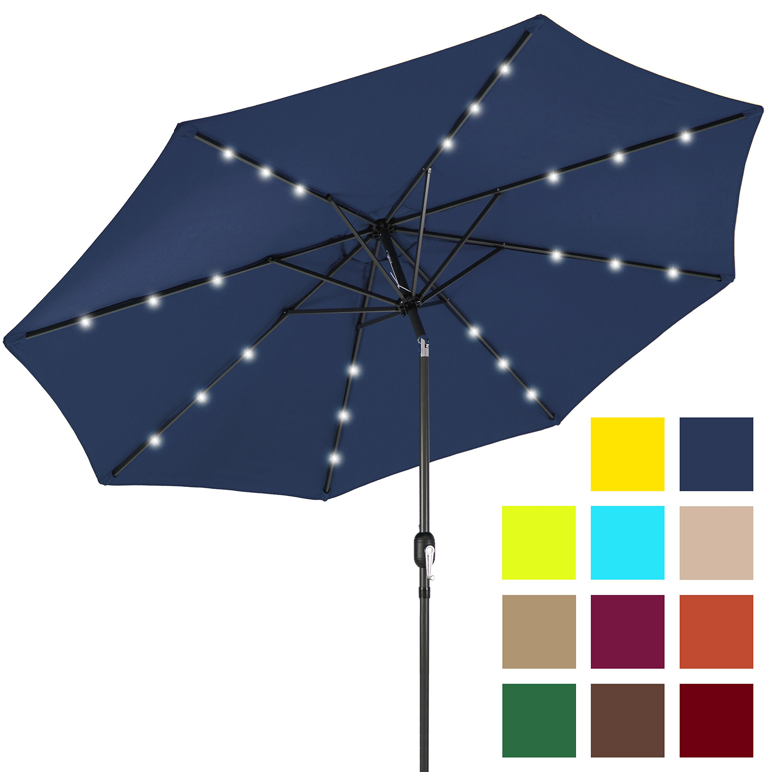 Best Choice Products 10ft Solar LED Lighted Patio Umbrella w/Tilt Adjustment - Navy Blue by Best Choice Products
