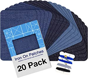 """Iron on Patches for Clothing Repair 20PCS, Denim Patches for Jeans Kit 3"""" by 4-1/4"""", 4 Shades of Blue Iron On Jean Patches for Inside Jeans & Clothing Repair"""