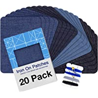 """Iron on Patches for Clothing Repair 20PCS, Denim Patches for Jeans Kit 3"""" by 4-1/4"""", 4 Shades of Blue Iron On Jean…"""
