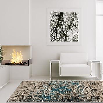 Carpet City Teppich Hochwertig Wohnzimmer Kaiman Handgefertigt Vintage Beige  Blau 120x170 Cm