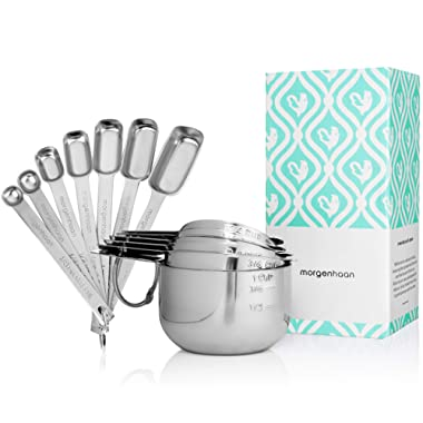 Stainless Steel Measuring Cups and Spoons, Set of 13 Pieces: Durable, Elegant All-in-One Kitchen Measuring Set for Dry and Liquid Ingredients - 7 Stackable Spoons and 6 Nesting Cups for Easy Storage