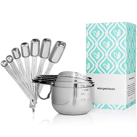 Amazon.com: Morgenhaan tazas y cucharas de medir de acero ...