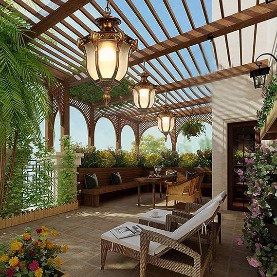 E27 Lámpara Colgante Rústica Para Exterior, Vintage Para Exterior, IP54, Lámpara De Techo Impermeable, Iluminación Ambiental, Aluminio Y Cristal, Dorado, 9 W, Luz Cálida: Amazon.es: Iluminación