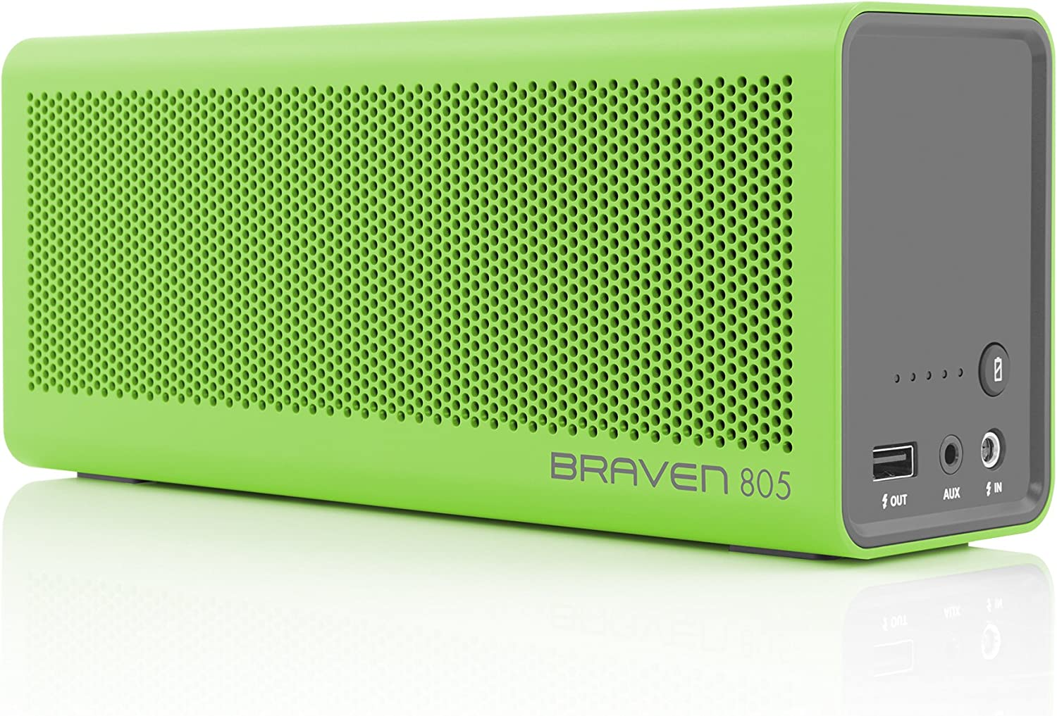 BRAVEN 805 Portable Wireless Bluetooth Speaker [18 Hour Playtime] Built-in 4400 mAh Power Bank Charger - Green/Gray