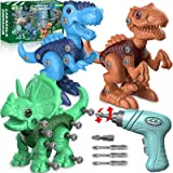 Dinosaur Toys for 3 4 5 6 7 Year Old Boys, Take Apart Dinosaur Toys for Kids 3-5 STEM Construction Building Toys with Electri