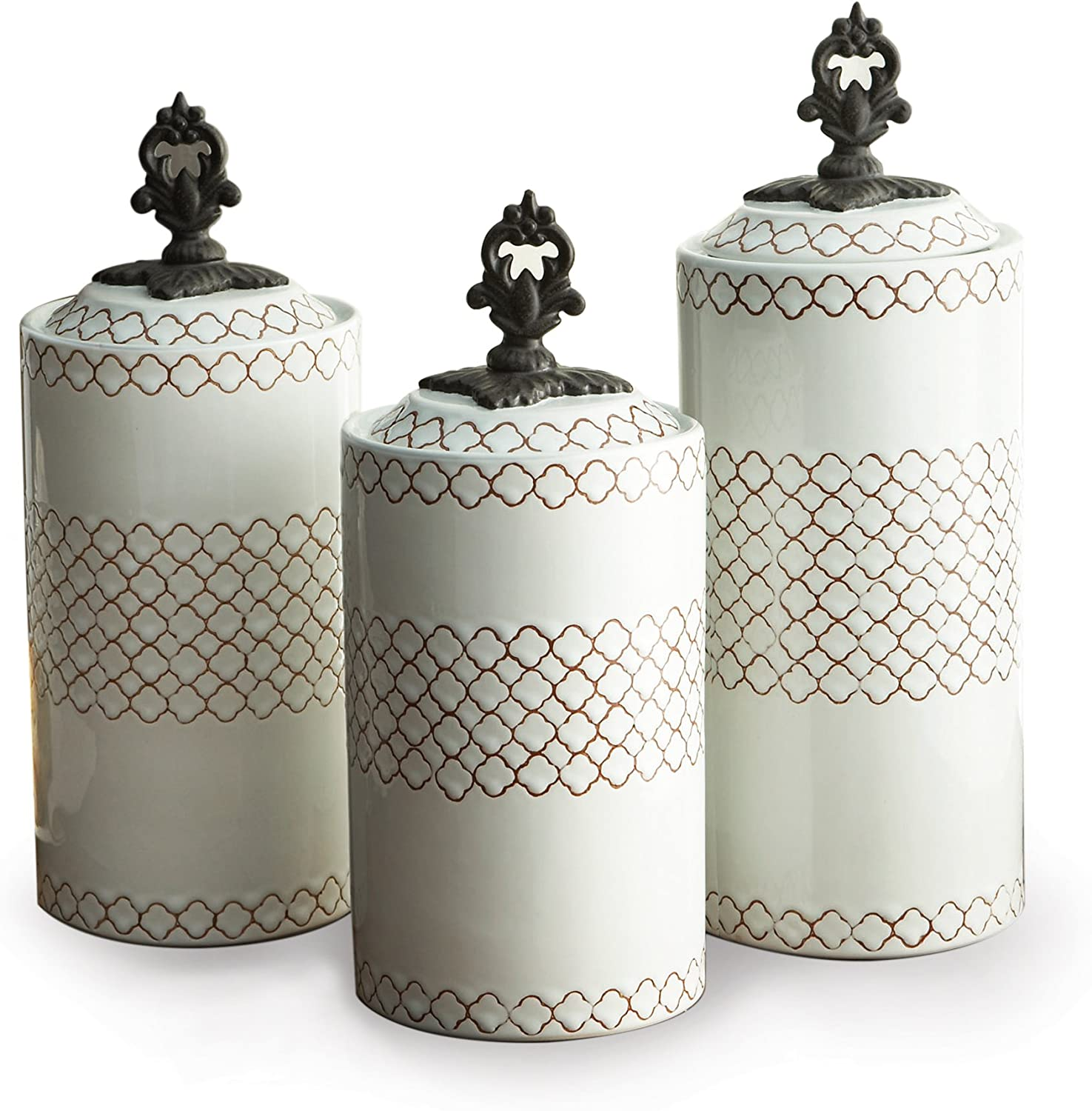 Cream American Atelier Antique Canisters Set of 3