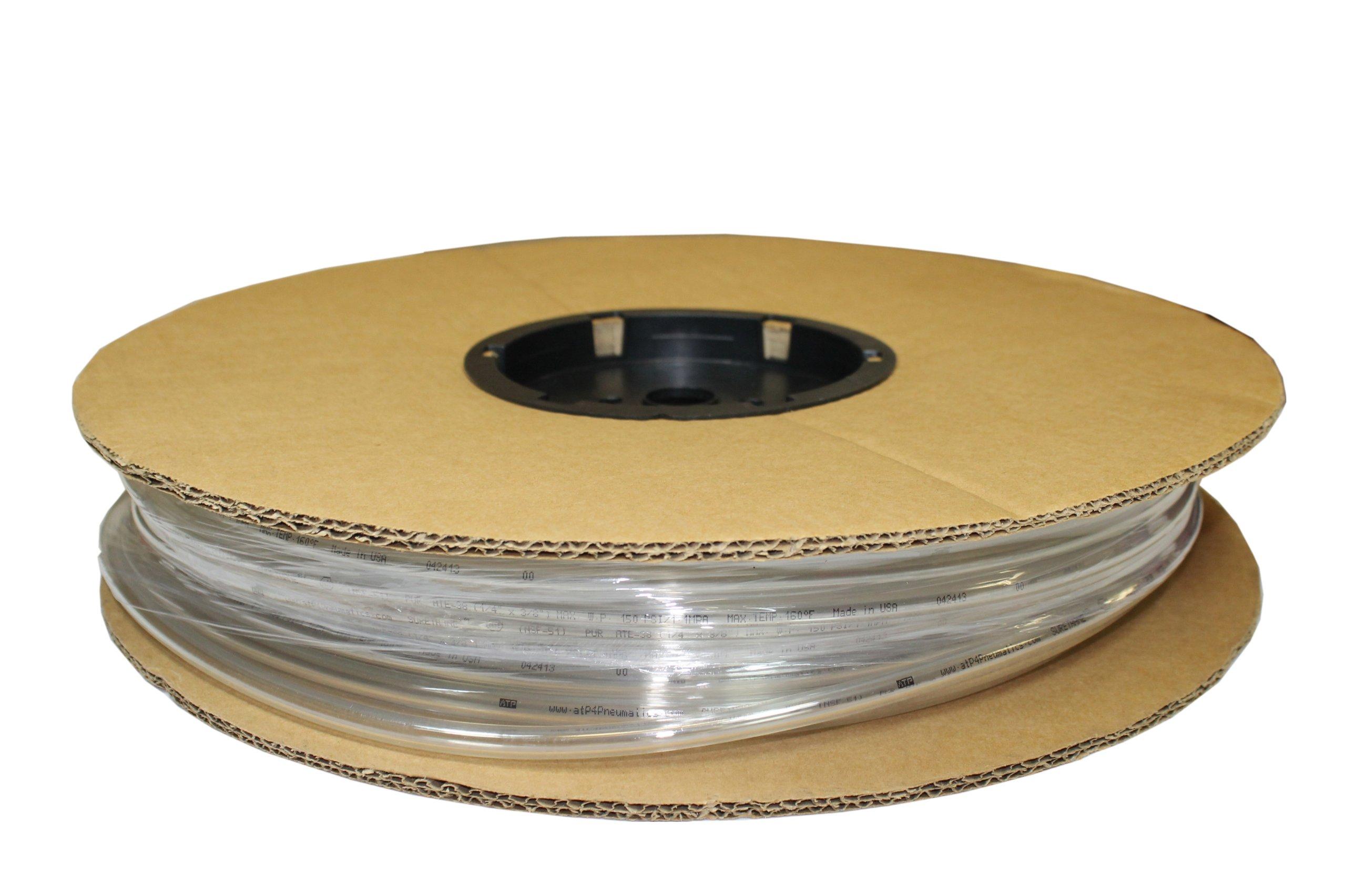 ATP Surethane Polyurethane Plastic Tubing, Clear, 3/32'' ID x 5/32'' OD, 100 feet Length