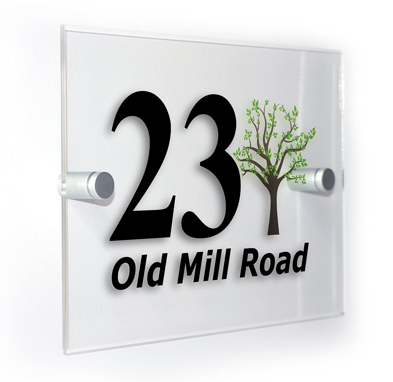 Tree Classic Style Custom House Number Sign For Homes Flats Outdoor Plaque Suitable For All Types Of Wall Durable Colour Print Premium Home Plaques