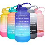 Elvira Large 1 Gallon/128 oz Motivational Time Marker Water Bottle with Straw & Protective Silicone Boot, BPA Free Anti-slip