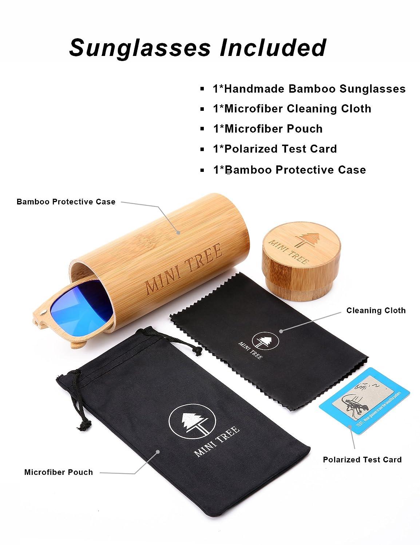 09e5fed371b Amazon.com  Mini Tree Polarized Handcraft Bamboo Sunglasses Wayfarer  Vintage Shades For Men and Women (Bamboo