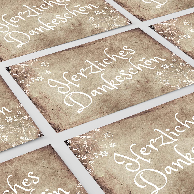 Danksagungskarten Nach Hochzeit 15 X Dankeskarten Mit