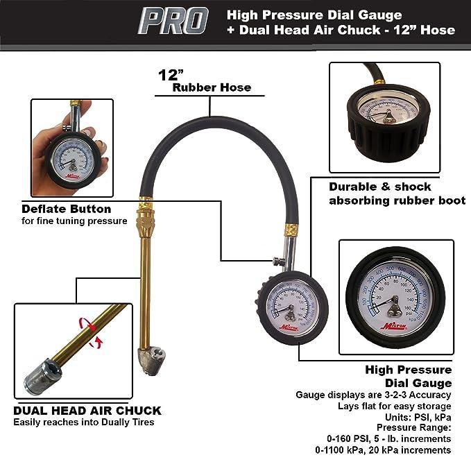 Amazon Com Dial Tire Gauge 0 160 Psi 5 Lb Increments Automotive