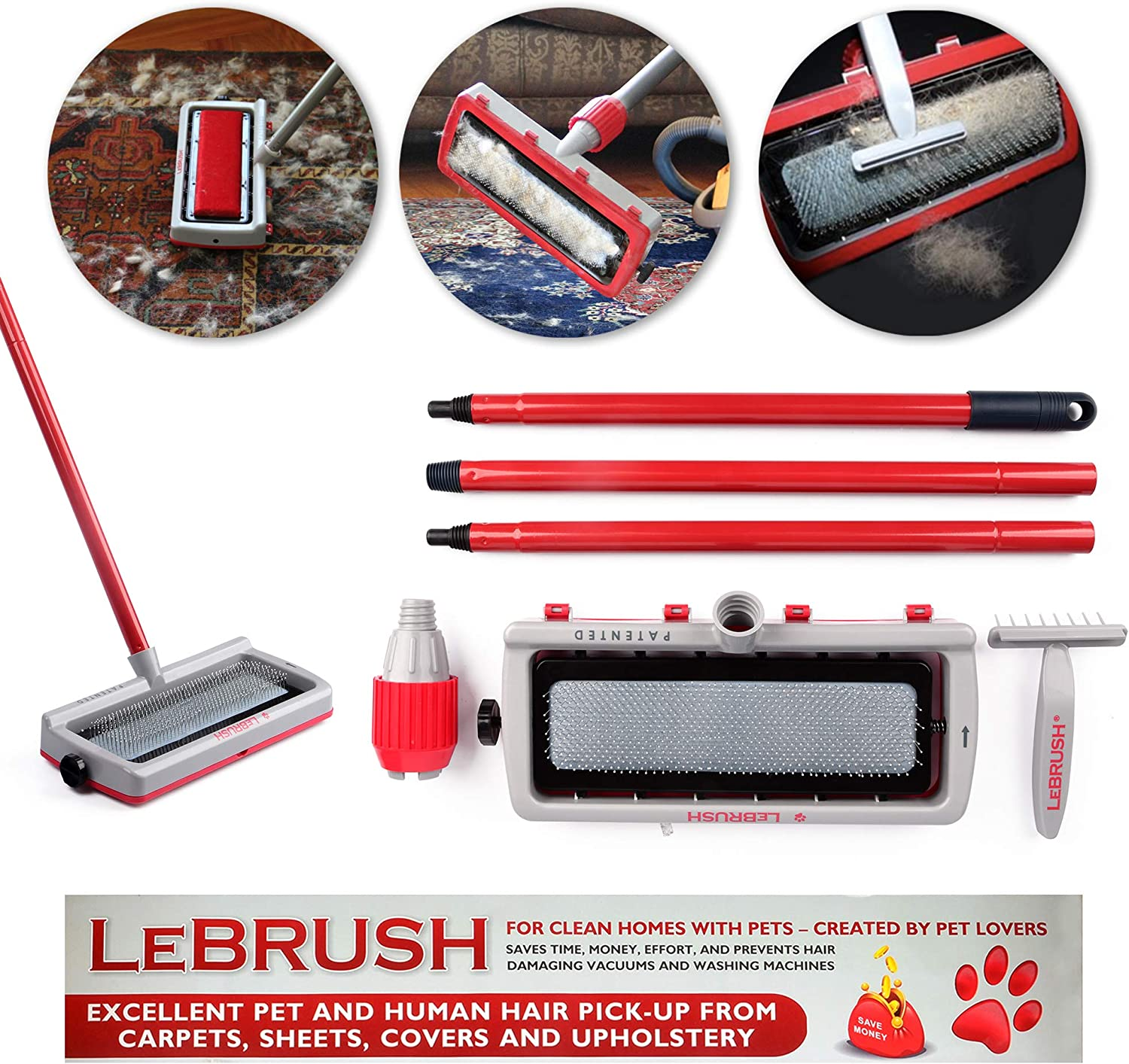 LeBrush Universal Pet Dog Cat Hair Remover Brush Broom Tool, Multi-Functional Carpet & Fabric Cleaning Broom Brush Tool for Picking up Cat, Dog, Pet Hair Fur with Vacuum Cleaner Adapter