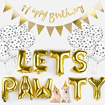 photo regarding Printable Happy Birthday Banner identify Legendog Pet dog Birthday Bash Resources Pet Paw Print Balloons Cat Birthday Hat Satisfied Birthday Banner Foil Balloons Allows Pawty Letters Balloons