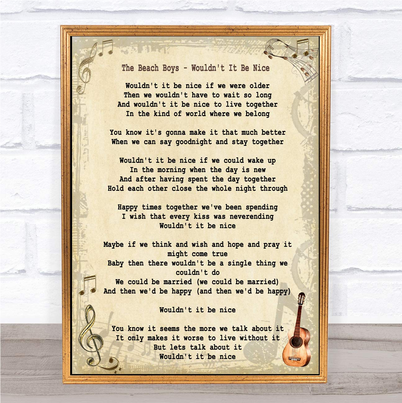 Amazoncom Wouldnt It Be Nice Song Lyric Wall Art Quote Print