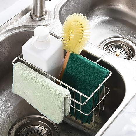 Kitchen Sponge Holder, Dish Brush Holder, Slim Sink Organization/Draining  Basket/Liquid Drainer/Water Trough Rack, Kitchen Essential Tools, ...