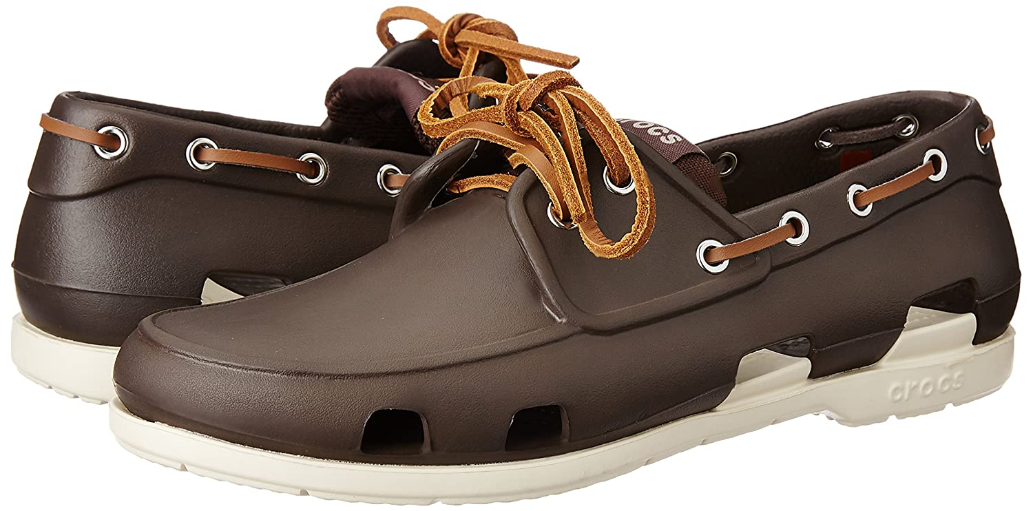 3e902d7412ce1 Crocs Beach Line Men s Boat Shoes - Espresso Stucco