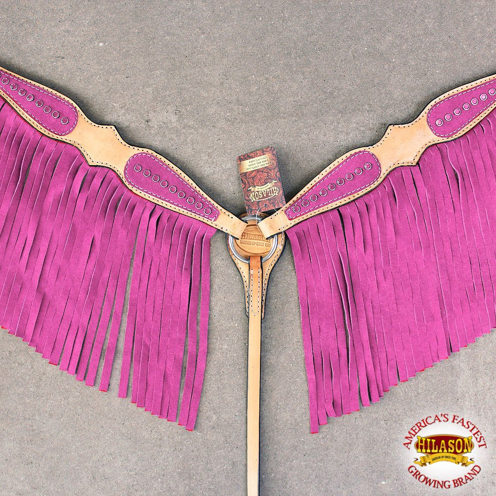 HILASON WESTERN AMERICAN LEATHER HORSE BREATS COLLAR TAN PINK FRINGES CRYSTALS