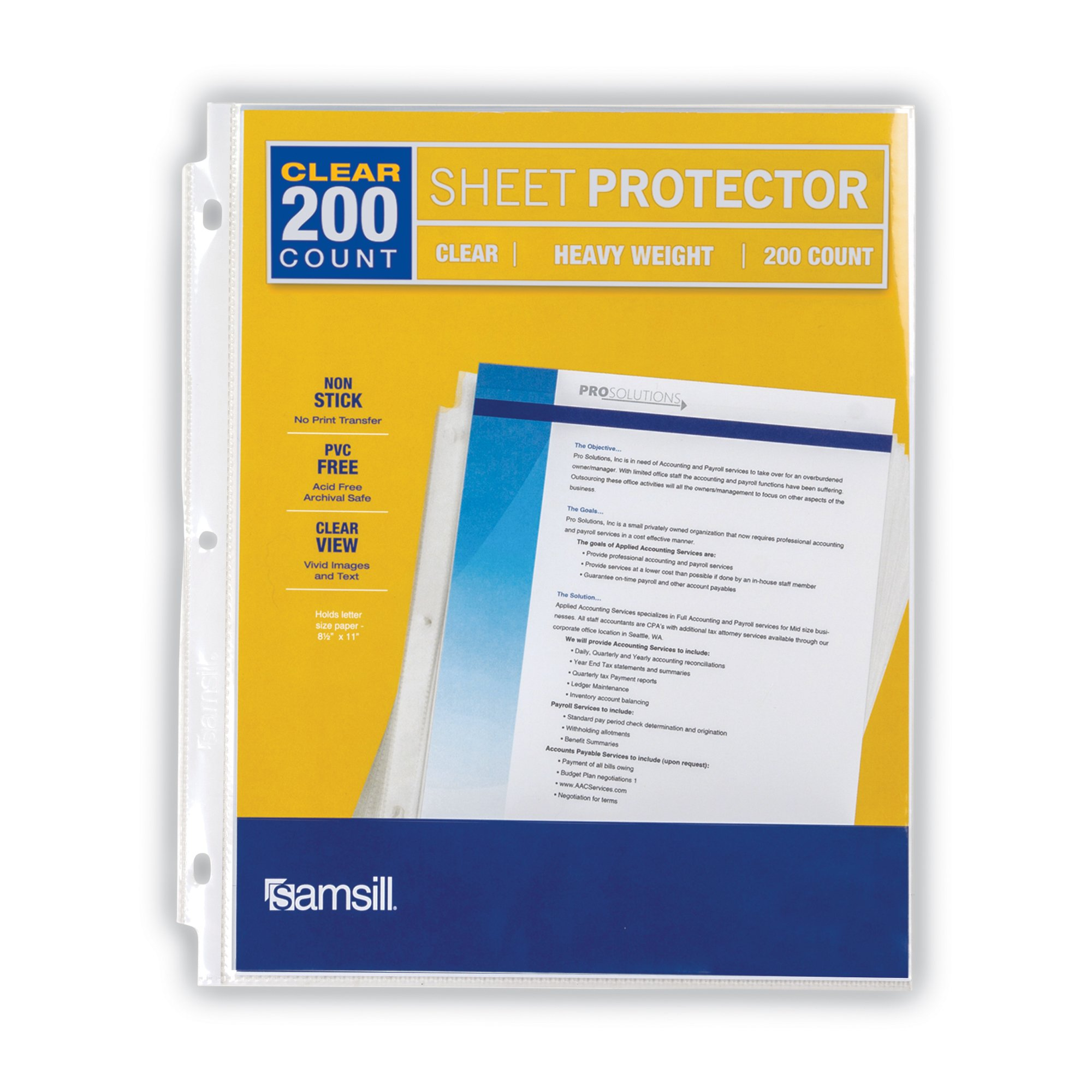 Samsill Heavyweight Clear Sheet Protectors, Box of 200 Plastic Page Protectors, Acid Free/Archival Safe, Top Load 8.5 x 11 inches by Samsill (Image #4)