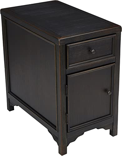 Signature Design by Ashley – Gavelston Chairside End Table w Storage, Rubbed Black Finish