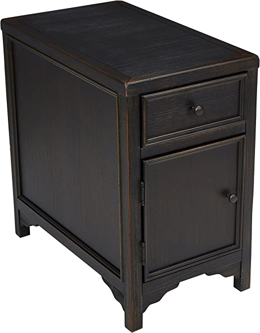 Amazon Com Signature Design By Ashley Gavelston Chairside End Table W Storage Rubbed Black Finish Furniture Decor