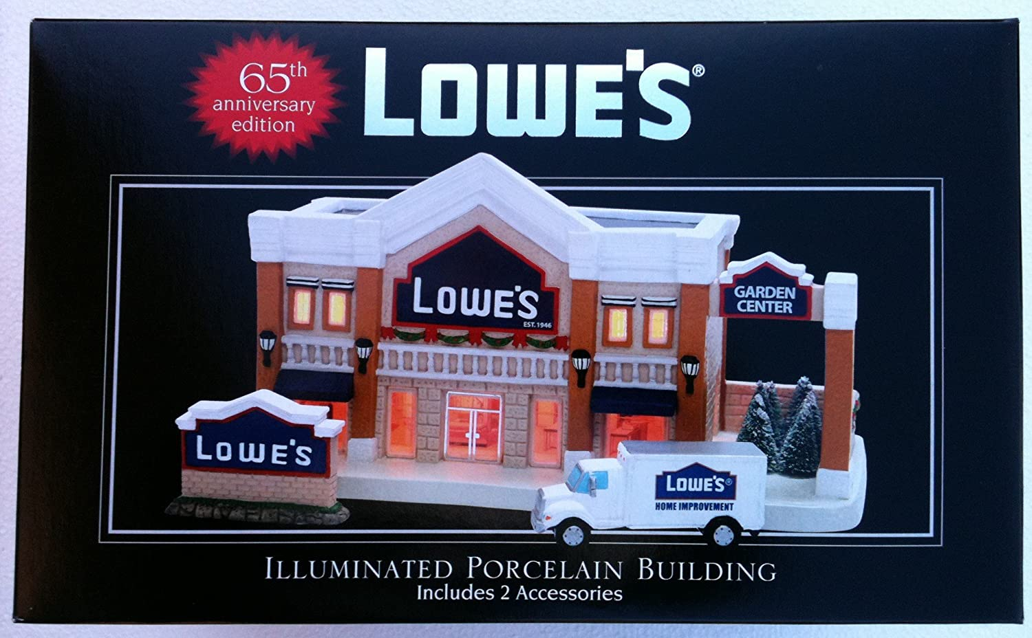 christmas eve lowes illuminated porcelain building with 2 acessories 65th anniversary edition amazoncouk kitchen home