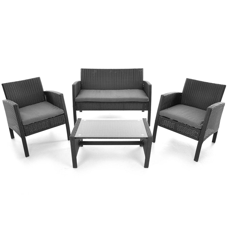 rattanset 4tlg sitzecke mit tisch mit 2 sessel und 1 sofa garnitur sitzgruppe polster grau. Black Bedroom Furniture Sets. Home Design Ideas