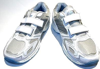 Señoras mujeres amplia cuidado de la salud fitness cierre táctil velcro gimnasio caminar correr correr correr correr gimnasio gimnasio flexible flexible plegable entrenador correr cruz zapatos tamaño, color Blanco, talla 36 EU: