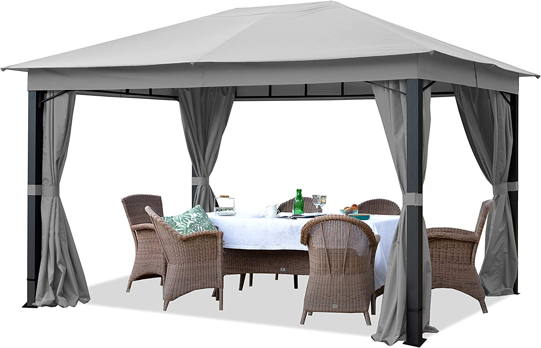 TOOLPORT Cenador de jardín Aprox. 3x4m ALU Premium Aprox. 220g/m² Lona de Techo Cenador Impermeable - 4 Partes Laterales cenador de jardín Gris Aprox. 9x9cm Perfil