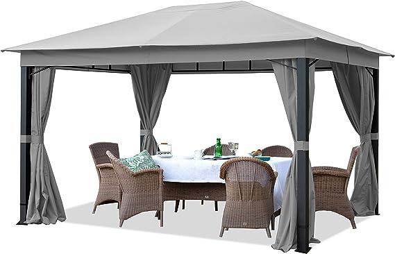 TOOLPORT Cenador de jardín 3x4m ALU Premium 280g/m² Lona de Techo Cenador Impermeable - 4 Partes Laterales cenador de jardín Gris 9x9cm Perfil: Amazon.es: Jardín